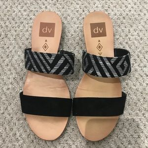 Dolce Vita Black White Double Strap Sandals